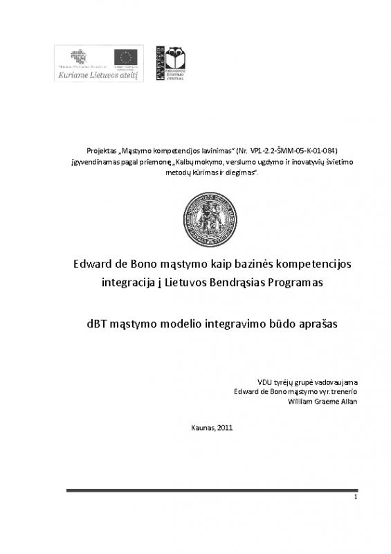Edward de Bono mąstymo kaip bazinės kompetencijos  integracija į Lietuvos Bendrąsias programas