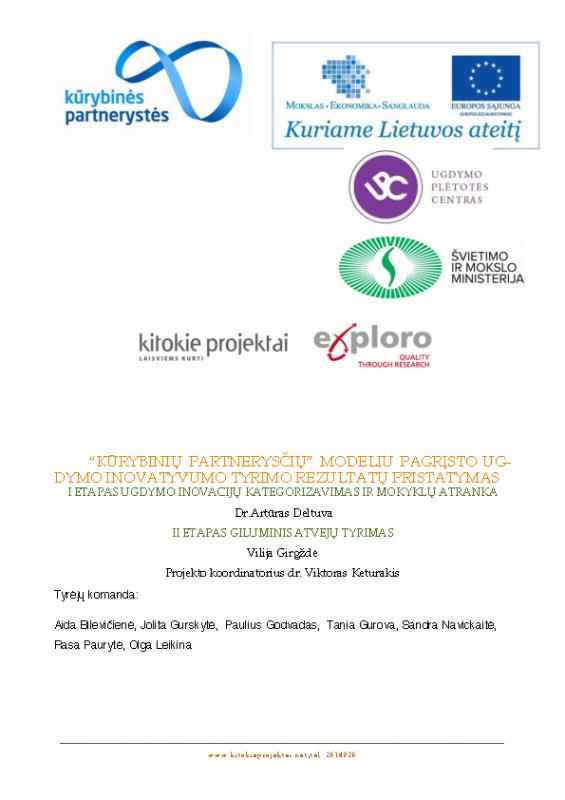 """""""Kūrybinių partnerysčių"""" modeliu pagrįsto ugdymo inovatyvumo tyrimas"""